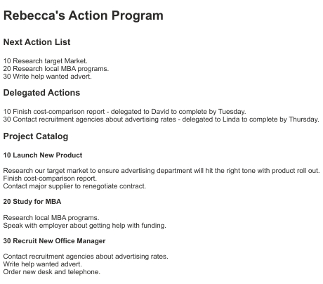 Action Program Example
