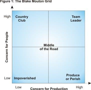 blake mouton managerial grid In the 1960s, robert blake and jane mouton developed a grid that provides a framework for describing a person's leadership style based on her concern for tasks and production or her concern for people.
