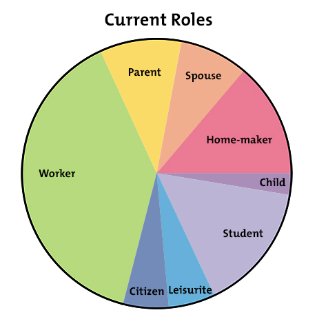 the life career rainbow get a better work life balance career  figure 2 example current work life balance pie chart