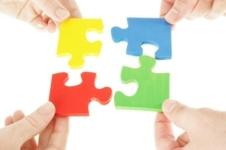 Colored puzzle pieces