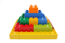 Pyramid made of building blocks.