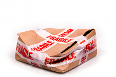 Damaged fragile parcel