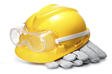 hard hat and safety gloves