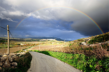 Landscape with a beautiful rainbow
