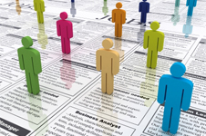 Colorful stick men standing on job adverts.