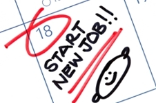 "Calendar with ""start new job"" written with a smiley face."