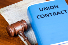Union contract and gavel.