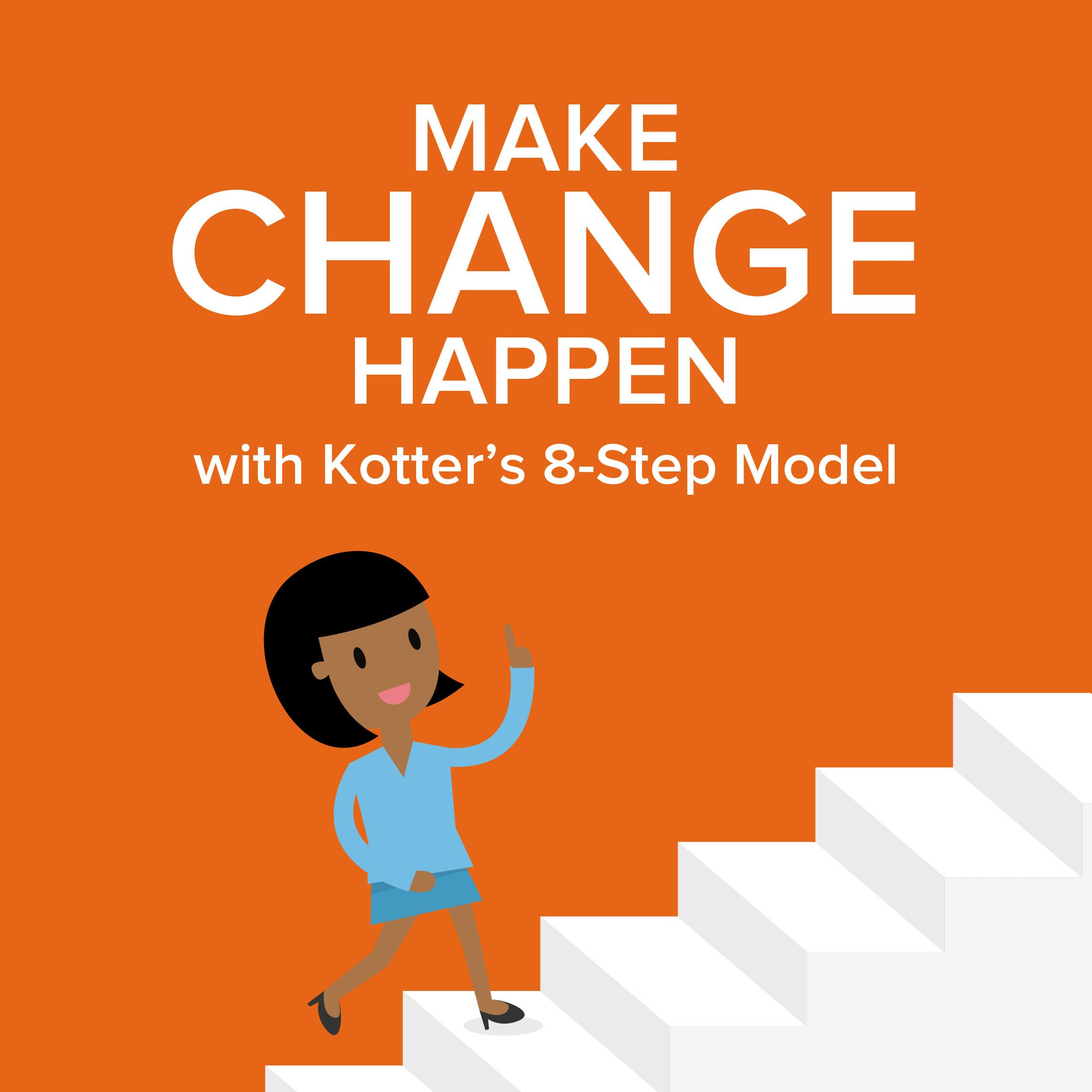 apply kotter s 8 step Prosci is a three-step change management model supported by extensive tools, techniques and resources that is scalable to different change  kotter's 8 step model.